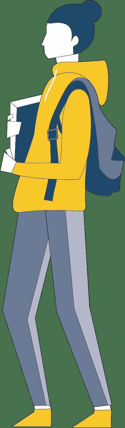 Silhouette d'un jeune/étudiant